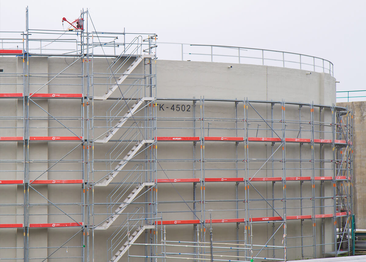 industrial scaffolding for tanks or silos